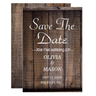Tarjeta Reserva de madera rústica de la boda de la