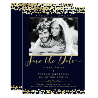 Tarjeta Reserva del boda de la foto del confeti del azul y