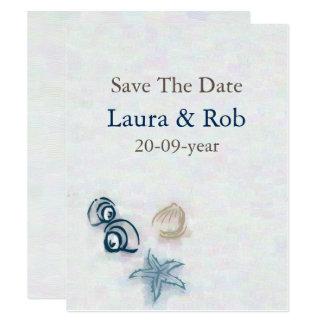 Tarjeta reserva del boda de playa la fecha