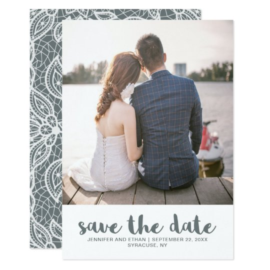Tarjeta Reserva del boda del cordón la foto de la fecha