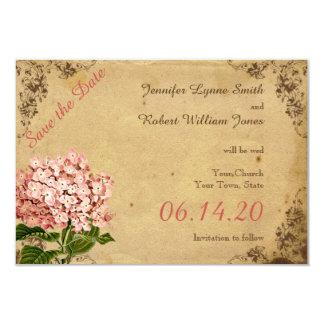 Tarjeta Reserva del boda del Hydrangea del vintage la