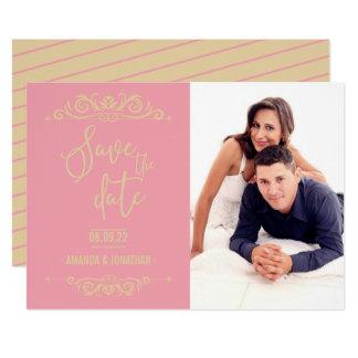 Tarjeta Reserva del boda del vintage la foto personalizada