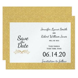 Tarjeta Reserva elegante del boda del monograma del oro la