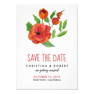 Tarjeta Reserva floral de los Peonies rojos el | la fecha