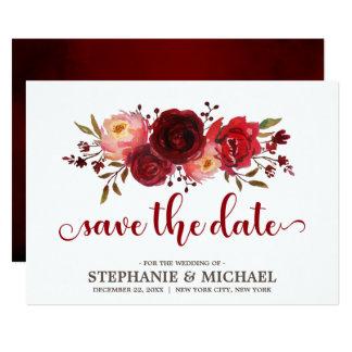 Tarjeta Reserva floral de los rosas rojos de Borgoña