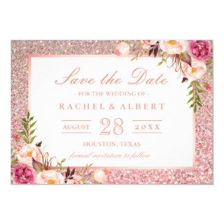 Tarjeta Reserva floral del oro del rosa color de rosa de