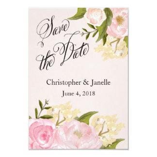Tarjeta Reserva floral rosada la fecha