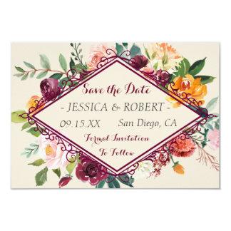 Tarjeta Reserva floral rústica del boda del marco de