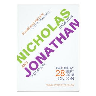 Tarjeta Reserva gay del boda de la tipografía moderna las