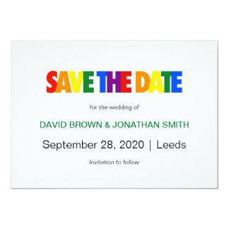 Tarjeta Reserva gay del boda la bandera del arco iris de