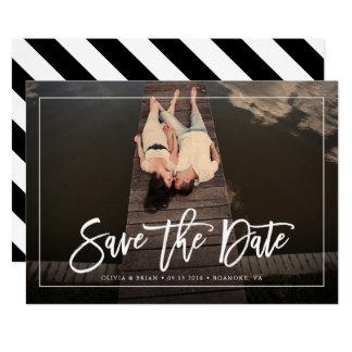 Tarjeta Reserva minimalista del boda de la foto del marco