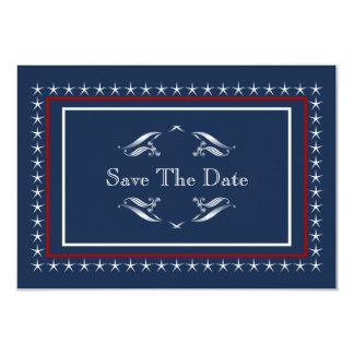 Tarjeta Reserva patriótica militar del boda las fechas