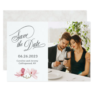 Tarjeta Reserva rosada de la foto de las magnolias la