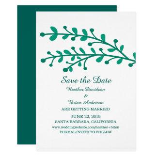 Tarjeta Reserva simple verde del follaje que la fecha