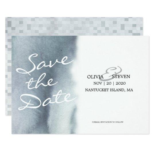 Tarjeta Reserva soñadora del boda de la acuarela del gris