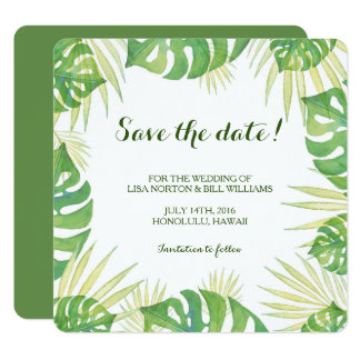 Tarjeta Reserva tropical del boda de la acuarela de las