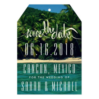 Tarjeta Reserva tropical del boda de México de la playa la