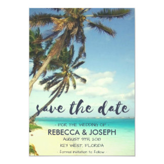 Tarjeta Reserva tropical del boda de playa de la brisa las