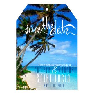 Tarjeta Reserva tropical del boda del destino de la playa