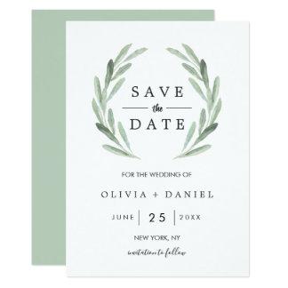 Tarjeta Reserva verde del boda de la guirnalda de la