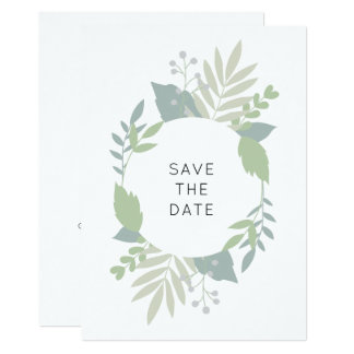Tarjeta Reserva verde del follaje la fecha - circunde el