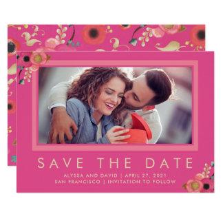 Tarjeta Reserva vibrante de la foto del | la fecha en rosa
