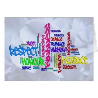 Tarjeta Respecto, amabilidad, confianza… Arte de la