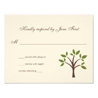 Tarjeta Respuesta frondosa del boda del árbol