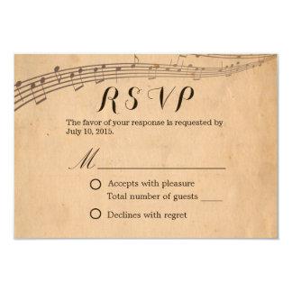 Tarjeta Respuesta musical RSVP del vintage del boda de la