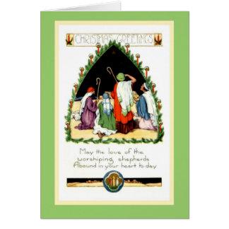 Tarjeta restaurada de los pastores del navidad de