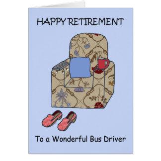 Tarjeta Retiro feliz del conductor del autobús