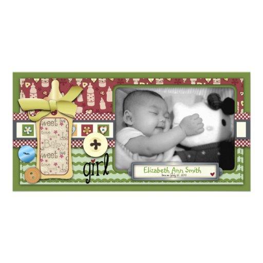Tarjeta retra de la foto del chica tarjeta fotográfica personalizada