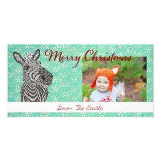 Tarjeta retra de la foto del navidad de la cebra tarjetas fotográficas personalizadas