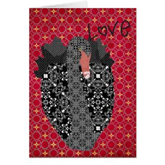 Tarjeta retra del amor del cisne negro