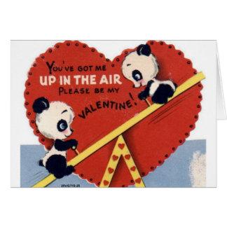 Tarjeta retra del el día de San Valentín del oso
