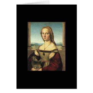 Tarjeta Retrato de la mujer joven con unicornio