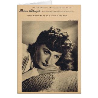 Tarjeta Retrato del vintage de Barbara Stanwyck