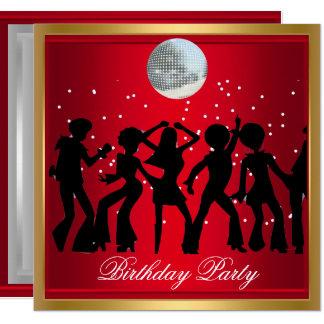 Tarjeta Retro rojo de la fiesta de cumpleaños de los años
