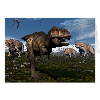 Tarjeta Rex del Tyrannosaurus atacado por el dinosaurio