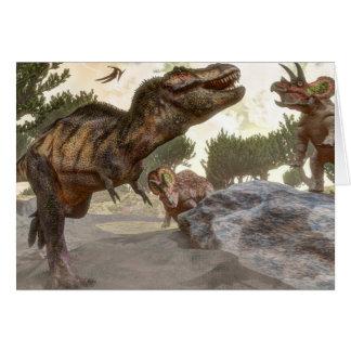 Tarjeta Rex del Tyrannosaurus que se escapa de ataque del