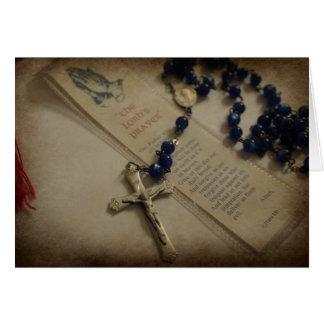 Tarjeta Rezo y rosario