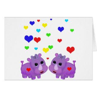 Tarjeta Rinoceronte lindo GLBT del corazón del arco iris