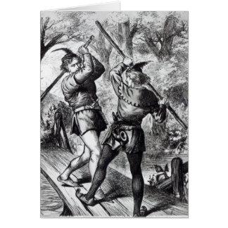 Tarjeta Robin Hood y pequeño Juan