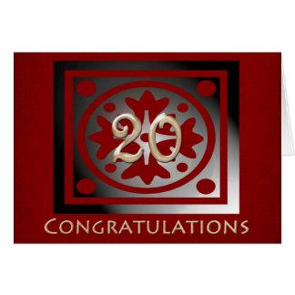 Tarjeta Roble rojo elegante del vigésimo aniversario del