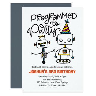 Tarjeta Robots, programados ir de fiesta