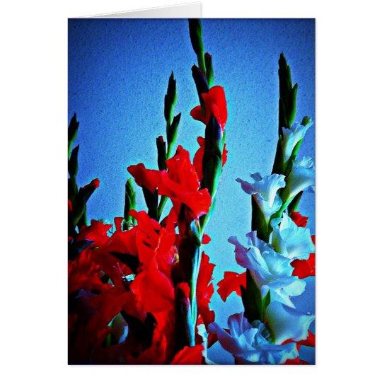 Tarjeta roja, blanca y azul de las flores