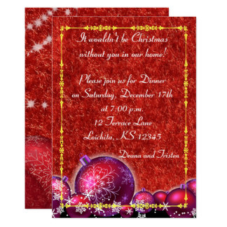 Tarjeta roja de la cena del día de fiesta del invitación 12,7 x 17,8 cm