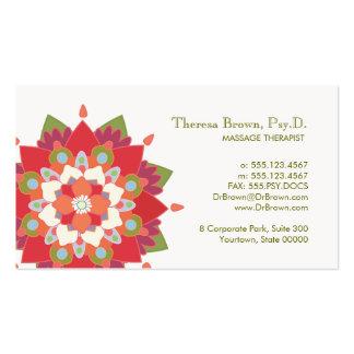 Tarjeta roja de la cita de Lotus de la terapia del Tarjetas De Visita