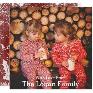 Tarjeta roja de la foto del acebo de las Felices Invitación 13,3 Cm X 13,3cm