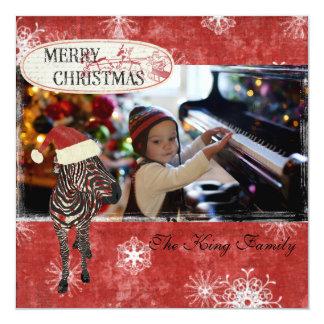 Tarjeta roja de la foto del navidad de la cebra comunicado personalizado